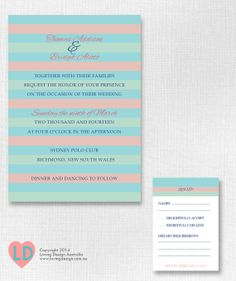 Printable #Blue #Mint and #Pink #Striped #Wedding Invitation by LovingDesignAus, $20.00