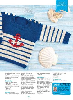 Baby Knitting Patterns Jumper Irina: Knitting for kids. Baby Boy Knitting Patterns Free, Baby Sweater Knitting Pattern, Knit Baby Sweaters, How To Start Knitting, Knitting For Kids, Knitting For Beginners, Knitting Projects, Sailor Baby, Knitted Romper