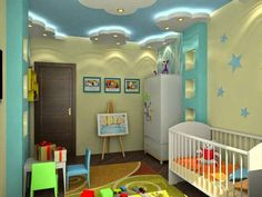 Ceiling Design For Bedroom For Boys 22 Modern Kids Room Decorating Ideas That Add Flair To Kids Room False Ceiling Pop Designs False Ceiling Kids Bedroom Design Ideas Stretch Ceiling With Baby Bedroom, Nursery Room, Boy Room, Kids Bedroom, Kids Rooms, Child's Room, Childrens Bedroom, Room Kids, Nursery Ideas