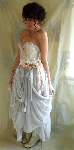 Trella Whimsical Bustier Wedding Dress or Formal Gown... Size S/M... eco friendly rococo fairy boho shabby chic alternative free people by jadadreaming, $440.00