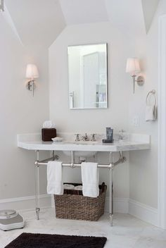 Corner Bathroom Washstand - Contemporary - bathroom - Papyrus Home Design Beautiful Home Designs, Beautiful Homes, White Bathroom, Master Bathroom, Humble Abode, Kitchen And Bath, My Dream Home, Interior And Exterior, Sweet Home