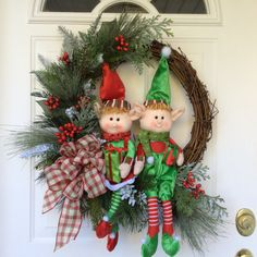 Christmas Wreath-Holiday Wreath-Winter Wreath-Whimsical Christmas-Christmas Elves-Rustic Wreath-Natural Wreath-Grapevine Wreath