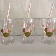 Minnie Mouse pink and gold party cups Gold and Pink Minnie