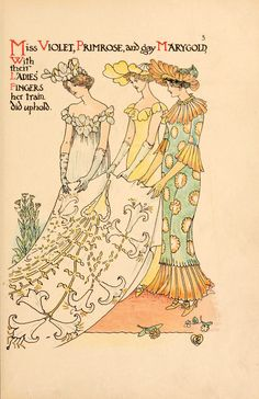 'A flower wedding' described by two wallflowers; decorated by Walter Crane. Published 1905 by Cassell & Company, London.  Description: An illustrated verse with full-colour drawings by Walter Crane, showing every kind of flower personified as guests at the wedding of young Lad's Love and Miss Meadow Sweet.