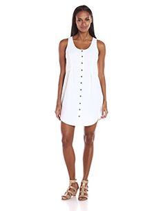 ModODoc Womens Linen Rayon Button Front Tank Dress White Medium -- You can find out more details at the link of the image.