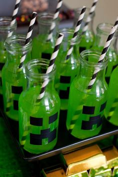 Minecraft Birthday Party Drinks for Boy Birthday Party Bash -- Great Ideas for Video Game Birthdays