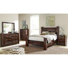 Clearance Dark Brown Rustic 5 Piece Queen Bedroom Set Grayson