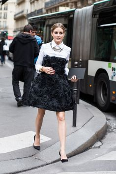 olivia palermo by sandra semburg this dress!!!!! #roses #lbd