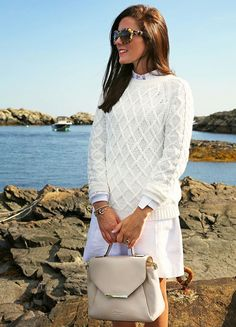 Off-white cable sweater by Gant ~ via Classy Girls Wear Pearls. Ivory sweater + ivory skirt + white trainers + neutral bag + dark hair and dark shades. Spring preppy style at its best. Preppy Outfits, Preppy Style, Summer Outfits, My Style, White Outfits, Classy Outfits, Summer Dresses, Spring Summer Fashion, Winter Fashion