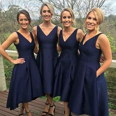 New Arrival Navy Blue Bridesmaid Dresses 2017 Lovely V Neck Pleats Tea Length Maid of Honor Dresses for Wedding Custom Made Price: USD 92 | United States