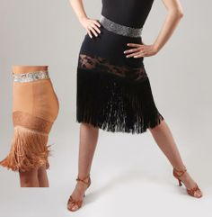 Fringe latin skirt, good for practice or USA dance syllabus competitions - DSI London. Visit http://ballroomguide.com/comp/attire/lady.html for more info about competition attire.