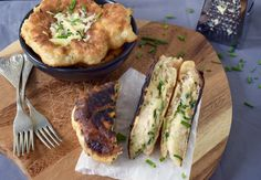 Langoshi - flat savoury doughnuts with cheddar cheese and chives