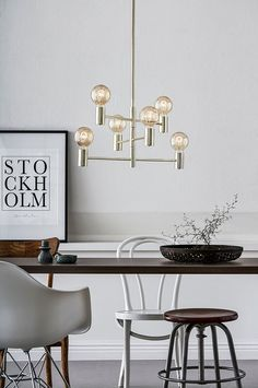 Ceiling Rose, Ceiling Lights, Gray Interior, Interior Design, Ikea, Sputnik Chandelier, Messing, Bauhaus, Office Desk
