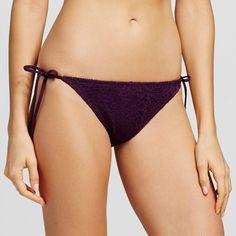 Women's Crochet String Bikini Bottom - Dark Plum Purple - XS - Mossimo