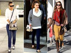 "Jessica Alba: The Queen of Recycling Clothing | REBECCA MINKOFF BAG | The ""Chance Briefcase"" by Rebecca Minkoff, with its snakeskin panel and piped detailing, adds a rebellious vibe to Jessica Alba's otherwise toned-down outfits."
