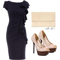 I found 'Navy Frill Front Dress' on Wish, check it out!
