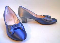1930s cobalt blue satin Daniel Green boudoir slippers, personal collection
