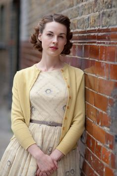 Lovely pale yellow vintage <3 | Jessica Raine as Jenny Lee in BBC's Call the Midwife