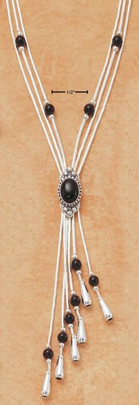 Expandable Liquid Silver Necklace with Onyx Beads & Tassel