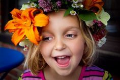 Making a traditional midsommarkrans (a wreath of flowers) is whimsical and imaginative as it includes both inside and outside activities – from picking colorful flowers to sewing them all together.