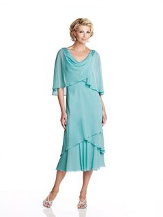 Princess V-neck 1/2 Sleeves Tea-Length Chiffon Mother of the Bride Dress
