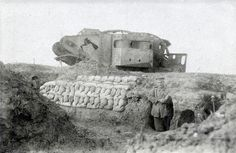 Knocked out British tank at Bullecourt 1917. Tank Number '586'