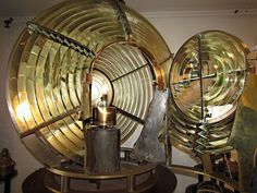 The 3 1/2 order Fresnel Bivalve Lens (with door open) on display in the Montauk Lighthouse Museum located on Long Island.