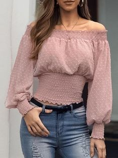 Conmoto Sexy Off Shoulder Ruffles Blouse Women Blouse Shirts Female Chiffon Pink Blouses Shirt Twist Club Plus Size Blusas Mujer Trend Fashion, Fashion Outfits, Stylish Outfits, Cute Outfits, White Chiffon Blouse, Ruffle Blouse, Shirt Blouses, Shirts, Pink Blouses