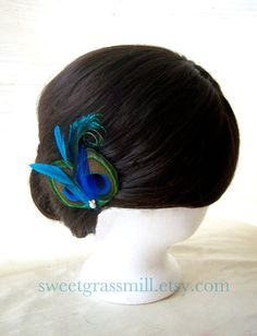 Peacock Fascinator  BELLA FLAIR  Peacock & by sweetgrassmill, $20.00