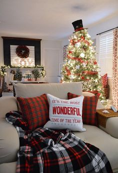 Christmas Home Tour - It's The Most Wonderful Time Of The Year Traditional Red Plaid Decorating. Frosty The Snowman black top hat tree topper. Holiday home of Fox Hollow Cottage http://foxhollowcottage.com #CLChristmasHome