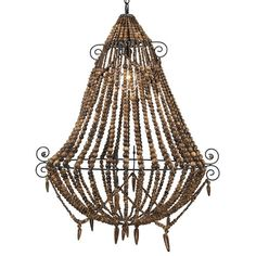 The Tulum Chandelier has an relaxed beachy or bohemian vibe with wood colored beads and metal scroll details.  #boho #lightinglove #bead #wood #chandelier #shopthelook