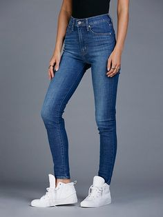 Levi's Mile High Super Skinny | Fitting slim through the high and thigh these skinnes are the perfect fit for that long & leggy look. In an extra high rise, this pair is featured in Levi's advanced super stretch fabric that holds, lifts and forms to your body. It also has enhanced recovery so it keeps its shape overtime. Five-pocket style with a button closure and zip fly.