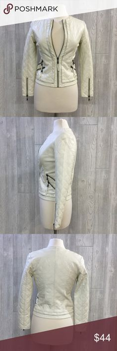 """NEW Faux Leather Quilted Jacket Faux Leather Quilted Jacket w/ Four Front Pockets, Ivory, Polyurethane, From Shoulder to Bottom Hem Measures 23"""", Runs Small, Fitted, New, Unworn Boutique Jackets & Coats"""