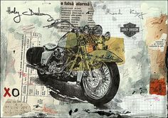 Harley Davidson canvas Fine Art PRINT poster Illustration Drawing Sketch Gift Collage Mixed Media Painting signed autographed E. Ologeanu