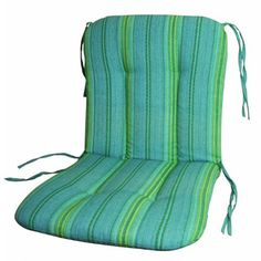 """Wrought Iron Chair Cushion-Grand Stripe Sea Blue . $19.95. Modern print for contemporary style. Sized to fit most wrought iron furniture, 20W x 37L x 2.5H, Break- 20"""" from the top. Smooth edge style. Made with spun polyester fabric, filled with 100% QUICK DRY FILL. Color coordinated fabric ties secures cushion to chair. Smooth edge style cushion for wrought iron furniture. 20""""W X 37""""L X 2.5""""H, Break 20"""" from the top.. Save 60% Off!"""