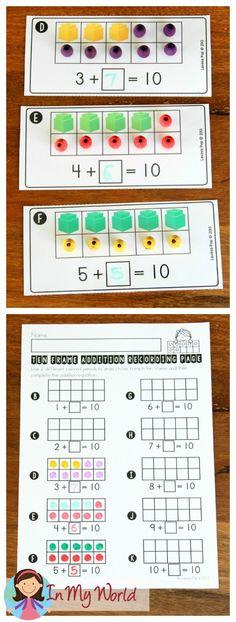 FREE Back to School Math Centers for Kindergarten. Ten frame addition making 10.