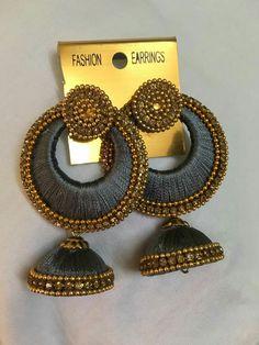 Silk Thread Earrings Designs, Silk Thread Bangles Design, Silk Thread Necklace, Beaded Necklace Patterns, Thread Jewellery, Handmade Pearl Jewelry, Handmade Jewelry Designs, Silk Thread Jumkas, Quilling Earrings