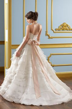 Sash Ball Gown Sweetheart Organza Tiers Classic Wedding Dress