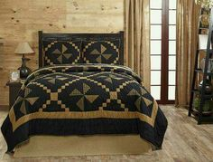 The Edward Queen Quilt Set features patchwork pinwheels of black and deep khaki tan checks, plaids, stripes, and solids. Perfect for your country primitive home King Quilt Sets, King Bedding Sets, Queen Quilt, Country Bedding Sets, Best Bedding Sets, Colchas Quilt, Quilt Bedding, Bedspread, Quilt Blocks