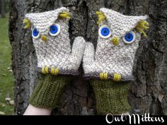 Owl Mittens Knitting Pattern