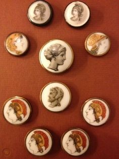 collection 10 antique liverpool transfer porcelain buttons greek mythology heads | #1720253130 Liverpool Transfer, Liverpool England, Vintage Buttons, Pottery, Antiques, Printed, Collection, Buttons, Porcelain