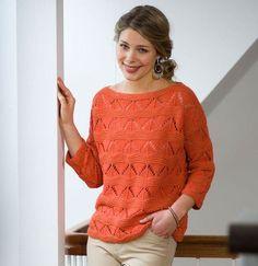 Strik en let model i en dejlig varm orange, der passer til den kommende sæsons farver. Cardigans, Sweaters, Crochet Top, Sweater Cardigan, My Favorite Things, Knitting, Orange, Knits, Tops