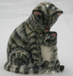 Lovely Tabby Mother Cat & Kitten Made & Hand Painted By Babbacombe Pottery Devon
