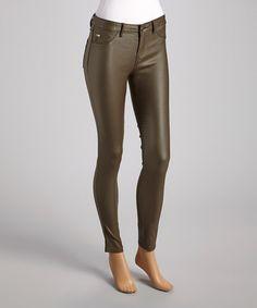 Bianco Jeans Olive Sheen Skinny Pants 902784f6a8e