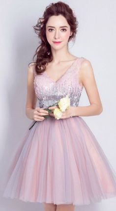 Blush Ball-gown V-neck Short Tulle Formal Dress Homecoming Dress Prom Dress With Sequins