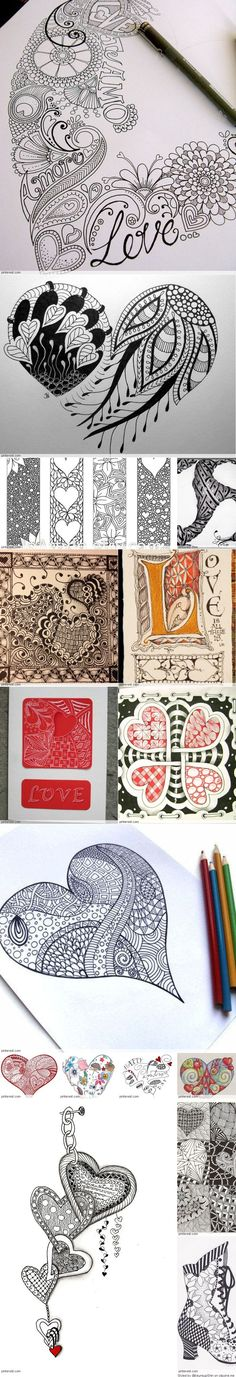 Zentangle Valentine's Day (wedding art) Ideas