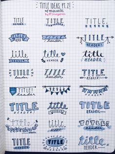 aesthetic notes A roundup of some of my favorite bullet journal headers and bullet journal banners - both simple and beautiful. You don't have to be an artist! Bullet Journal School, Bullet Journal Inspo, Bullet Journal Titles, Bullet Journal Banner, Bullet Journal Notebook, Bullet Journal Aesthetic, Bullet Journal Ideas Handwriting, Bullet Journal Fonts Hand Lettering, Bullet Journal Design Ideas