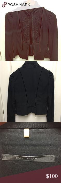 Jacket Black cropped jacket with long sleeves. Beautiful design with velvet. Elie Tahari Jackets & Coats Blazers