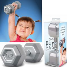 Buff Baby Rattle turns your little one into a bench-pressing body-builder! As your baby pushes weights with the Buff Baby Rattle, their curiosity will be piqued by the gentle rattle sound and natural hand-grips. BPA and phthalate free! How adorable! Cute Kids, Cute Babies, Baby Boy, Lil Baby, Baby Rattle, Everything Baby, Having A Baby, Baby Gear, Future Baby