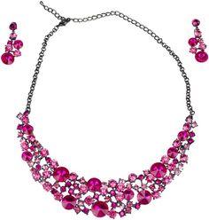 Schmuckset Calypso Schwarz Silber/ Pink Fuchsia Collier und Ohrringe Statement Schmuck Hochzeit
